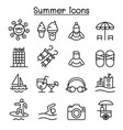 summer icon set in thin line style vector image vector image
