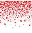 valentines day falling red blurred hearts on white vector image vector image