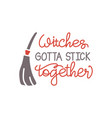 witches gotta stick together funny halloween vector image