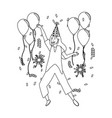 woman with party hat and balloons design vector image vector image