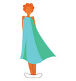 a girl wearing a beautiful blue floating gown vector image vector image