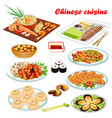 a set chinese dishes with soup peking style vector image vector image