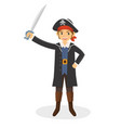 a young pirate with his sword vector image vector image