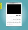 April 2013 calendar vector image vector image