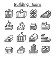 basic building in 3 dimension icon set thin line vector image vector image