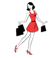 beautiful girl with purchases vector image
