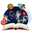 book about astronomy with astronauts and planets vector image vector image
