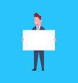 business man hold white empty banner office worker vector image