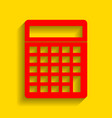 calculator simple sign red icon with soft vector image vector image