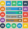 car icon sign Set of twenty colored flat round vector image