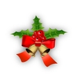 Christmas bells with holly and bow vector image