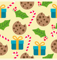 christmas seamless pattern with presents candy vector image vector image