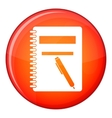 Closed spiral notebook and pen icon flat style vector image vector image