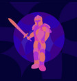 colorful art with neon colored ancient knight vector image vector image
