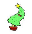 comic cartoon dancing christmas tree vector image vector image