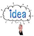 concept pencil idea hand isolate write blue idea vector image vector image