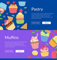 cute cartoon muffins or cupcakes web banner vector image vector image