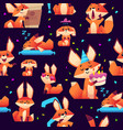 fox pattern orange wild animal colored fox cute vector image