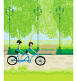 friends biking in the park vector image vector image