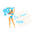 girl in bikini for banner vector image