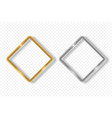 gold and silver rhombus frame on transparent vector image