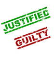 guilty and justified rubber stamp vector image vector image