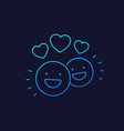 happy customers clients linear icon vector image