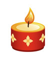 hindu religion candle red with golden flowers vector image vector image