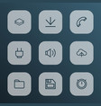 interface icons line style set with second meter vector image