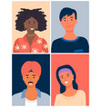 international people avatars mix races young guys vector image vector image