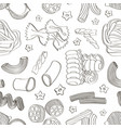 italian pasta food set pattern vector image