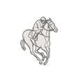 Jockey Riding Thoroughbred Horse Mono Line vector image vector image