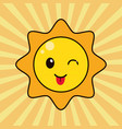 kawaii sun character wink vector image