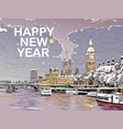 london merry christmas and new year greeting card vector image vector image
