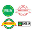 made in mauritania stamp label graphic template vector image vector image