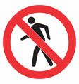no pedestrian sign vector image vector image