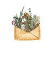 open envelope with fir tree branches a monkey with vector image
