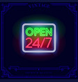 open shop 247 neon light sign vector image vector image
