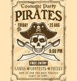 pirates invitation to costume party vintage poster vector image vector image