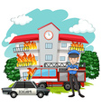 Policeman and fire at the building vector image vector image