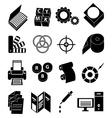 Print press icons set vector image vector image