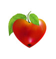 red apple heart isolated modern valentines love vector image
