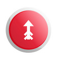 red round button with up arrow symbol vector image vector image