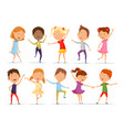 set of isolated little boys and girls dancing vector image