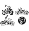 silhouette rider biker motorcycle engraving vector image vector image