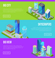 skyscrapers in major city banners set vector image vector image