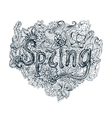 Spring poster in doodle style ornaments vector image