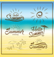summer is coming text on blurred summer beach vector image vector image