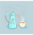 tea time cute childish teapot and cup with heart vector image vector image