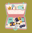 travel case with passport camera diary buggage vector image vector image